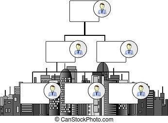 skyline, escritórios, negócio ilustração, organogram