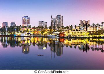 skyline, eua, praia, califórnia, longo