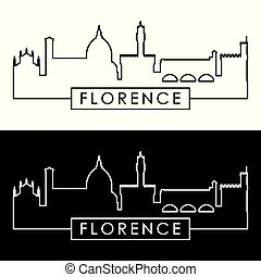 skyline., florenz, linear, style.