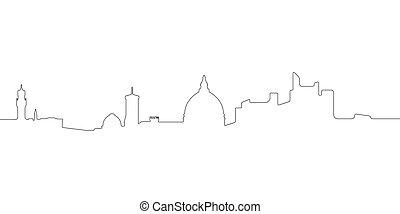 skyline, florenz, linie, continous