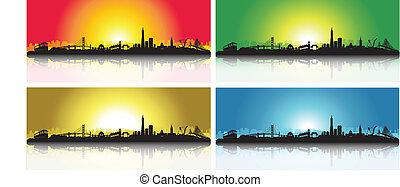 skyline, francisco, satz, san, bunte