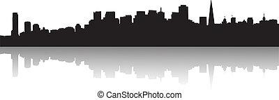 skyline, francisco, silhouette, san
