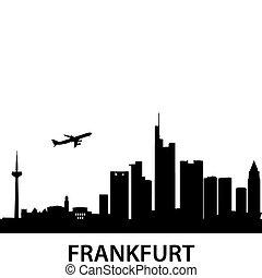 detailed vector illustration of Frankfurt am Main, Germany