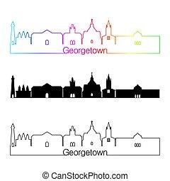 skyline, georgetown, stil, linear, regenbogen