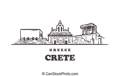 skyline., grèce, main, vecteur, crète, dessiné, illustration., croquis, crète