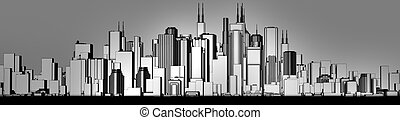 skyline grey - 3d render of a skyline in shades of grey