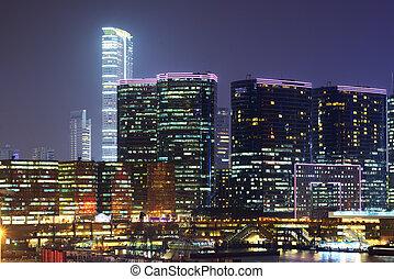 skyline, hong, kowloon, kong