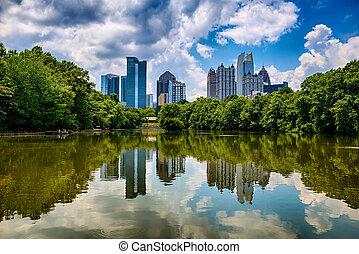 skyline, i, downtown, atlanta, georgia, af, piedmont, park