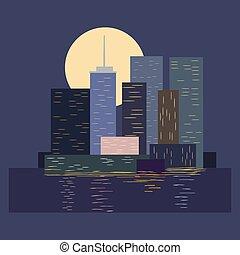 Skyline in city by night