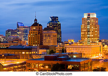 Skyline in Sacramento at night