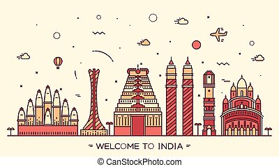 Skyline India silhouette illustration linear - Skyline of...