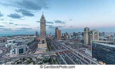 Skyline internet city with crossing Sheikh Zayed Road aerial...