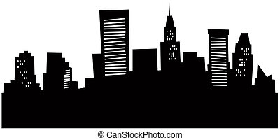 skyline, karikatur, baltimore