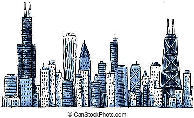skyline, karikatur, chicago