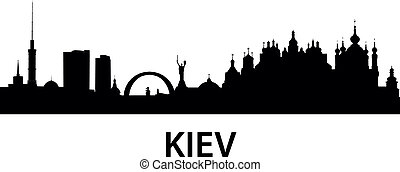 detailed vector silhouette of Kiev, Ukraine