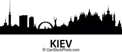 detailed vector silhouette of Kiev, Ukraine