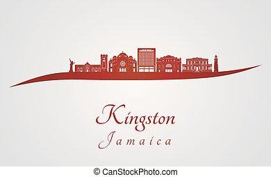 skyline, kingston, vermelho