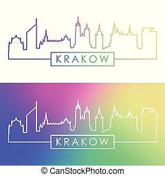skyline., krakow, 線である, カラフルである, style.