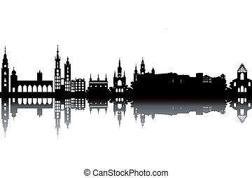skyline, krakow