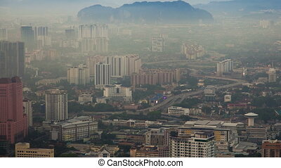 skyline Kuala Lumpur city time-lapse. pan up
