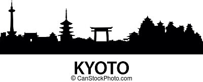 detailed vector illustration of Kyoto, Japan