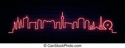 skyline, las, city., las vegas, neon, rotes