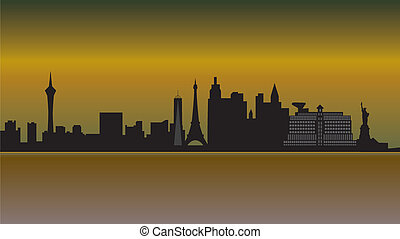 skyline, las vegas, woestijn, las