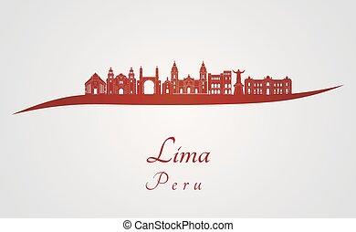 skyline, lima, vermelho