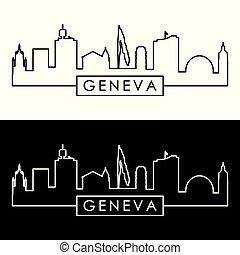 skyline., lineal, ginebra, style.