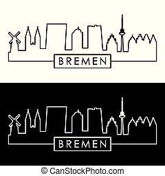 skyline., lineal, style., bremen