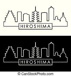 skyline., lineal, style., hiroshima
