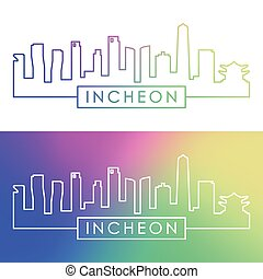 skyline., linear, style., bunte, incheon