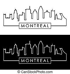skyline., linearny, montreal, style.