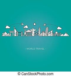 skyline, linha, turismo, viagem