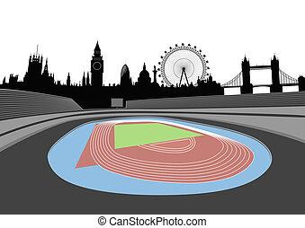 skyline, london, stadion