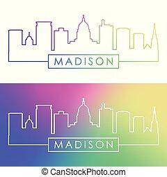skyline., madison, linear, coloridos, style.