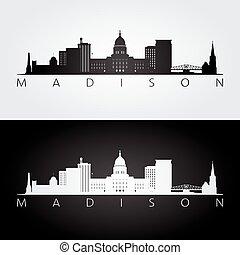 skyline, madison, silueta, marcos, eua