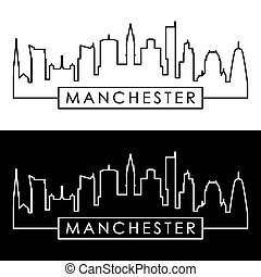 skyline., manchester, linear, style.