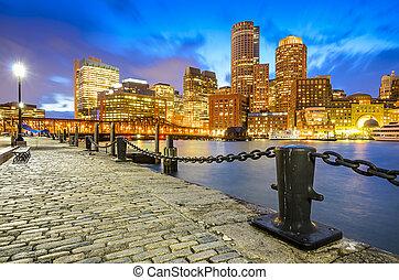 skyline, massachusetts, boston