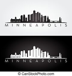 skyline., minneapolis, stati uniti