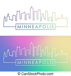 skyline., minneapolis, style., coloridos, linear