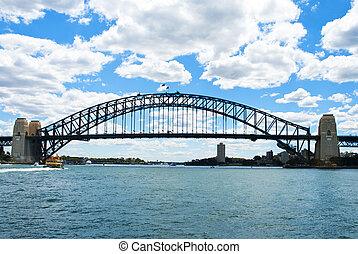 skyline, mit, beherbergen brücke, sydney, australia