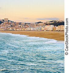 Skyline Nazare beach ocean Portugal
