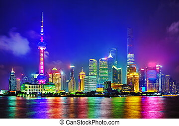 Skyline night  view on Pudong New Area, Shanghai.