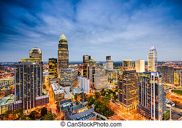 skyline, norte, charlotte, carolina