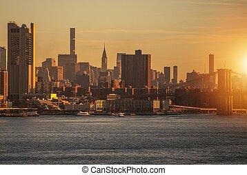 skyline ny york, solopgang