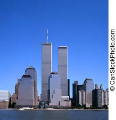 skyline nyc, con, il, torrette gemellare