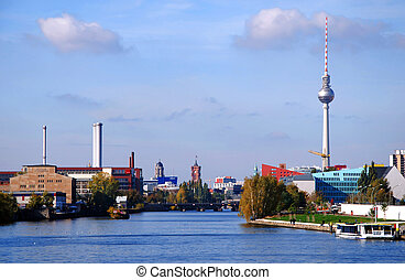 skyline of berlin with tv-tower and river spree