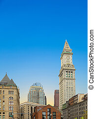 skyline of Boston with clock tower, customs house