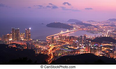 Busan, South Korea - Skyline of Busan, South Korea at the...